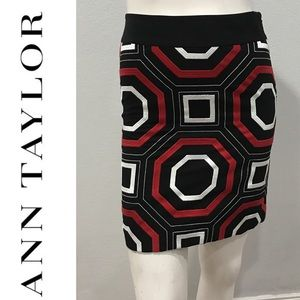 Ann Taylor Embroidered Black Red White Skirt